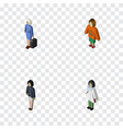 isometric people set of girl doctor lady and vector image vector image