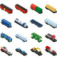 isometric set of railway trains vector image vector image