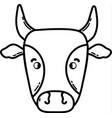 line cute cow head farm animal vector image