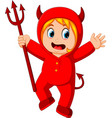 little kids in halloween red devil costume vector image vector image