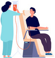 man donor nurse medical check in blood donation vector image