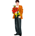 man holding flower bouquet vector image vector image