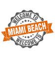 miami beach round ribbon seal vector image vector image