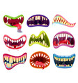 mouth and teeth halloween cartoon set vector image vector image