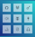 music outline icons set collection of equalizer vector image vector image