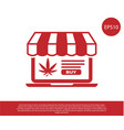 red laptop and medical marijuana or cannabis leaf vector image vector image