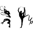 rhythmic gymnasts silhouettes vector image vector image