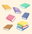 school book stack cartoon vector image vector image