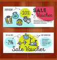 set of discount coupons for sport vector image vector image