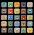 Square face line flat icons with long shadow vector image