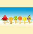 summer fruit ice-creams vector image vector image