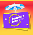 Summer sale banner with umbrella vector image vector image