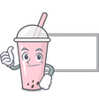 thumbs up with board raspberry bubble tea vector image vector image