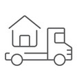 truck delivers the house thin line icon vector image