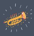 trumpet on dark background vector image vector image
