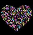 valentine heart on black background vector image vector image