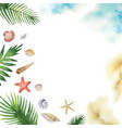 watercolor colorful seashells and tropical vector image