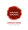 waves icon - red watercolor circle splash vector image
