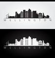 wellington skyline and landmarks silhouette vector image vector image