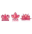 yoga studio lotus flower inscription logotype vector image