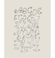 Hand-drawn ABC funky letters isolated on light vector image