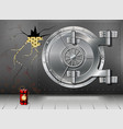 a huge metal round safe door reliable saving of vector image vector image