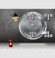 a huge metal round safe door reliable saving of vector image