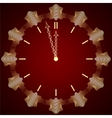 abstract New Year golden clock on dark red vector image vector image