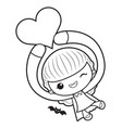 black and white witch mascot is holding a heart vector image vector image