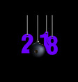 bowling ball and 2018 hanging on strings vector image