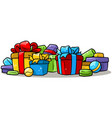 cartoon colored presents and gift boxes vector image vector image