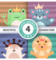 cartoon cute hello animals - frog cat deer lion vector image