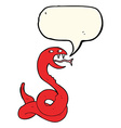 cartoon hissing snake with speech bubble vector image vector image