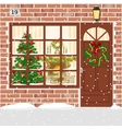 Christmas decorated door house entrance with vector image vector image