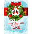 christmas wreath greeting card of new year holiday vector image vector image