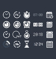 clock time icons vector image vector image
