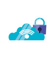 cloud computing with padlock protection vector image vector image