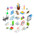 college house icons set isometric style vector image