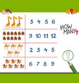 counting activity with cute animals vector image