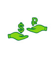 currency exchange from hand to hand dollar and vector image vector image