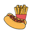 delicious hot dog with tasty fries french vector image vector image