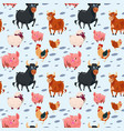 domestic animals collection farming seamless vector image