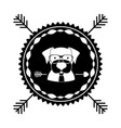 emblem dog hipster hunter city icon vector image vector image