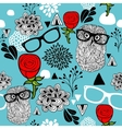 Female pattern with owls in glasses and beautiful vector image vector image
