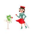 flat joan of arc costume girl frog wine vector image vector image