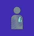 flat shading style icon silhouette with leaf vector image vector image
