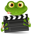 Frog with movie clapper vector image vector image