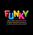 funky playful style font design colorful alphabet vector image vector image