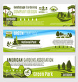 gardening or green landscape design banners vector image vector image