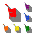 hand truck sign set of red orange yellow green vector image vector image